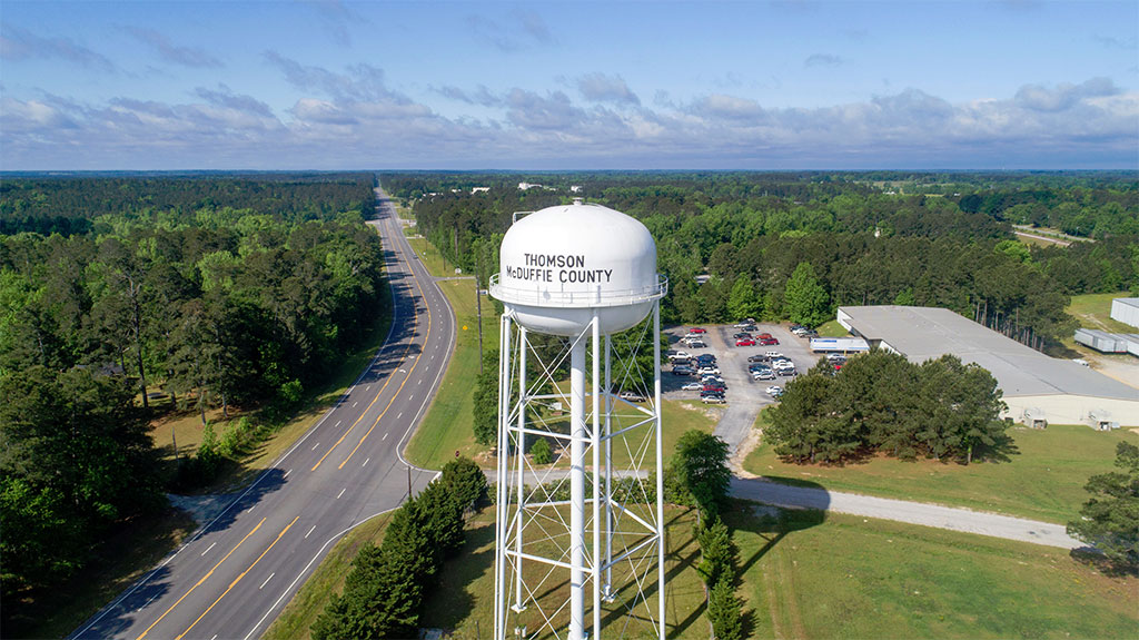 Aerial view of Thomson McDuffie County area with water tower