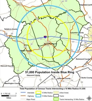 51,000 population within 15-mile radius