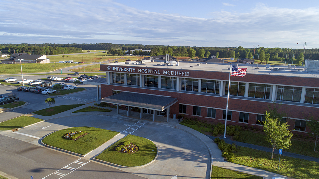 Aerial view of University Hospital McDuffie building