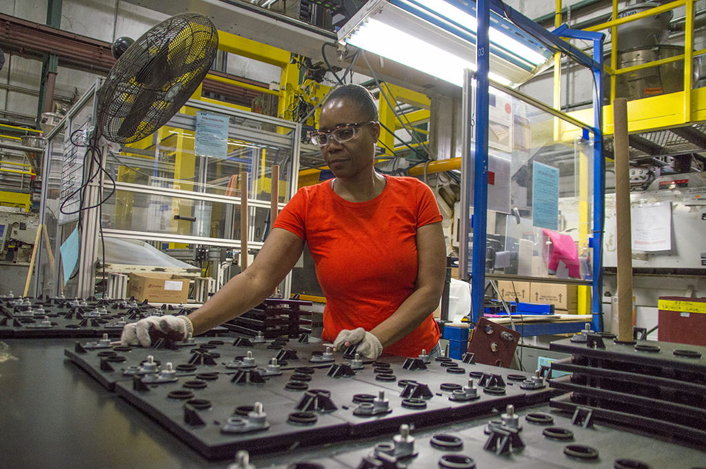 Lady working in a manufacturing plant
